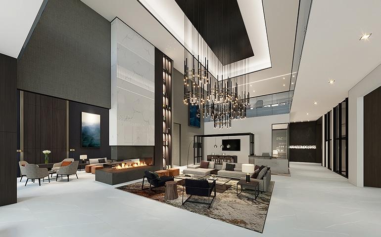 ZDS Architecture & Interior Design Parcel Lobby Interior Render